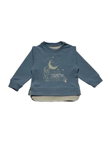 Nila Kids Gri-Mavi Rengi Erkek Bebek Uzun Kollu Organik Tişört NK08011GM (6 AY- 5 YAş) Mavi